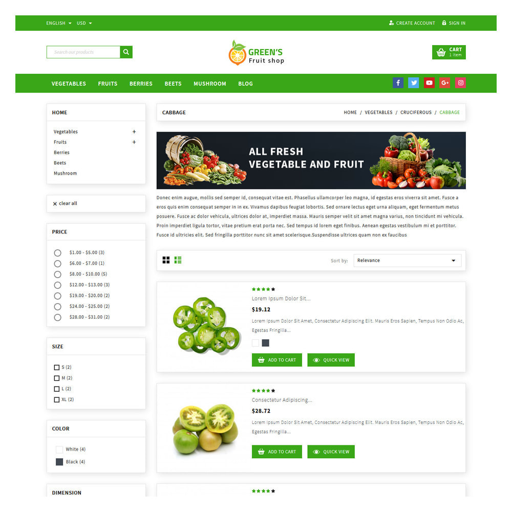 theme - Food & Restaurant - Green Vegetable & Fruits Shop - 4