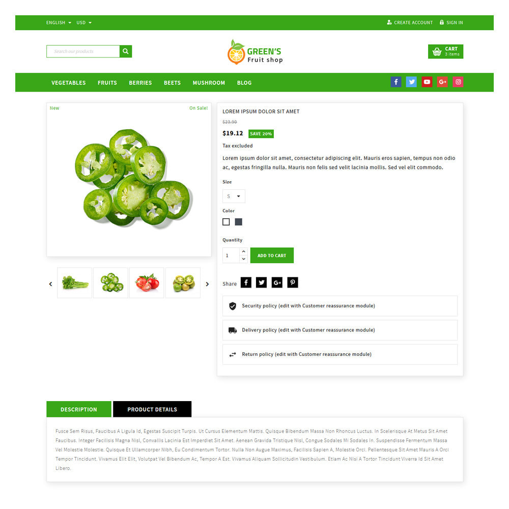 theme - Food & Restaurant - Green Vegetable & Fruits Shop - 5