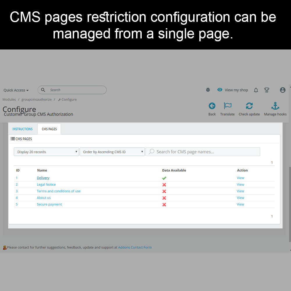 module - Sécurité & Accès - Private CMS - Customer Group CMS Authorization - 3