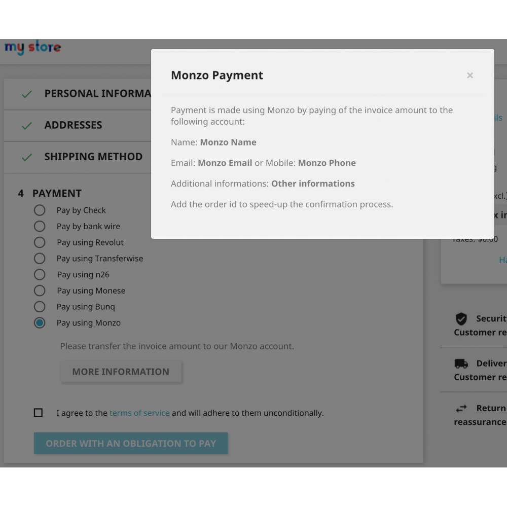 module - Payment by Card or Wallet - Monzo Manual Payments - 4
