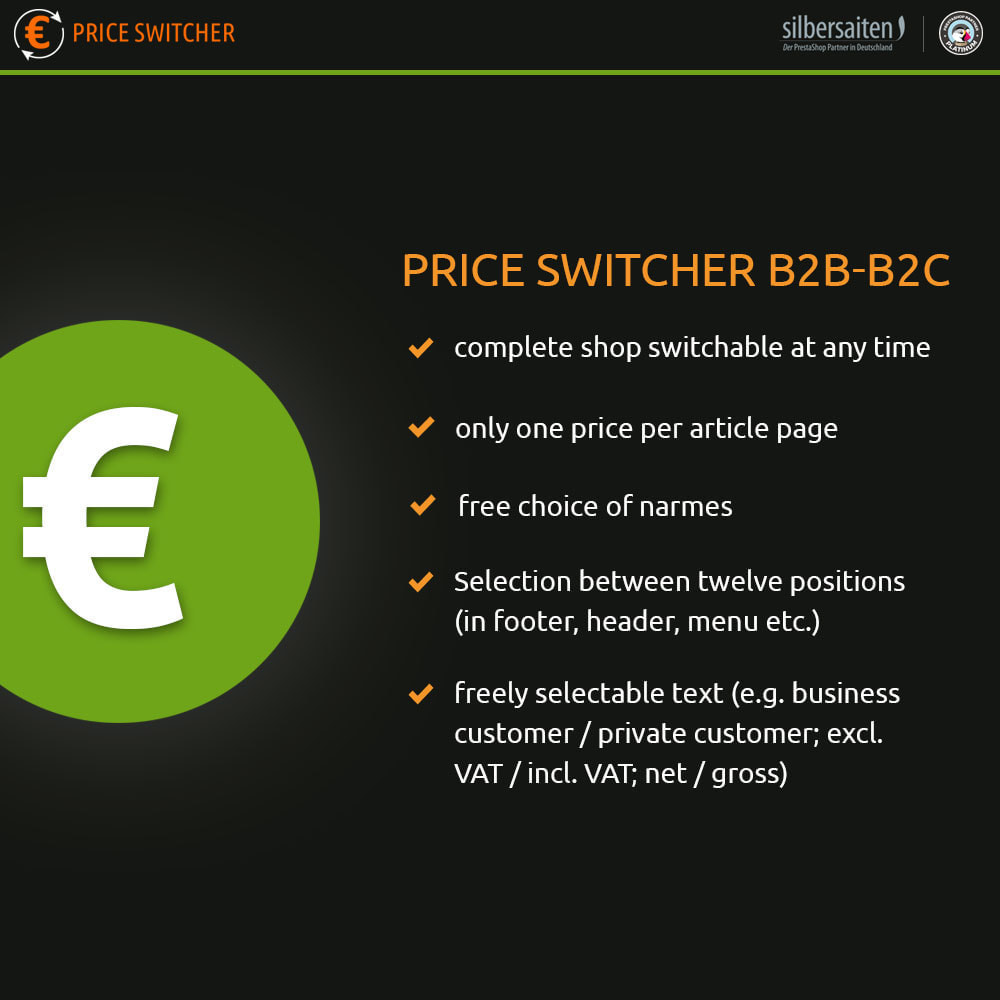module - B2B - Price Switcher: display of price Tax incl. or Tax excl. - 1