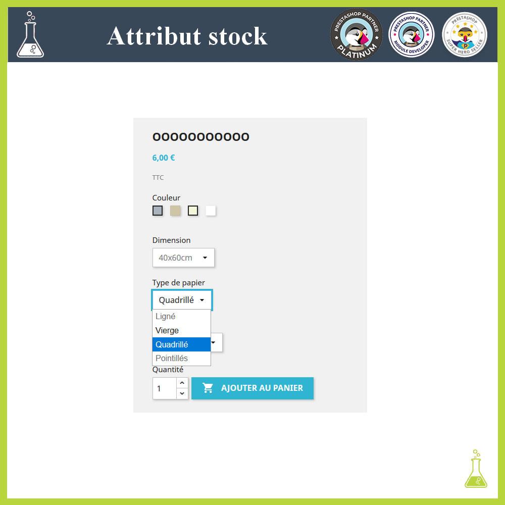 module - Déclinaisons & Personnalisation de produits - Affichage de déclinaisons/attributs avec stock - 4