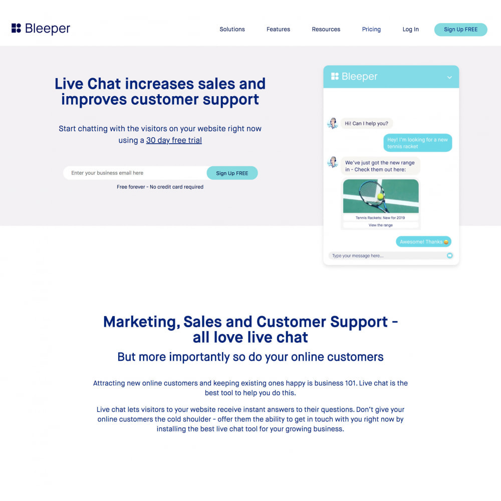 module - Support & Online Chat - Bleeper - Free Plan Live Chat - 2