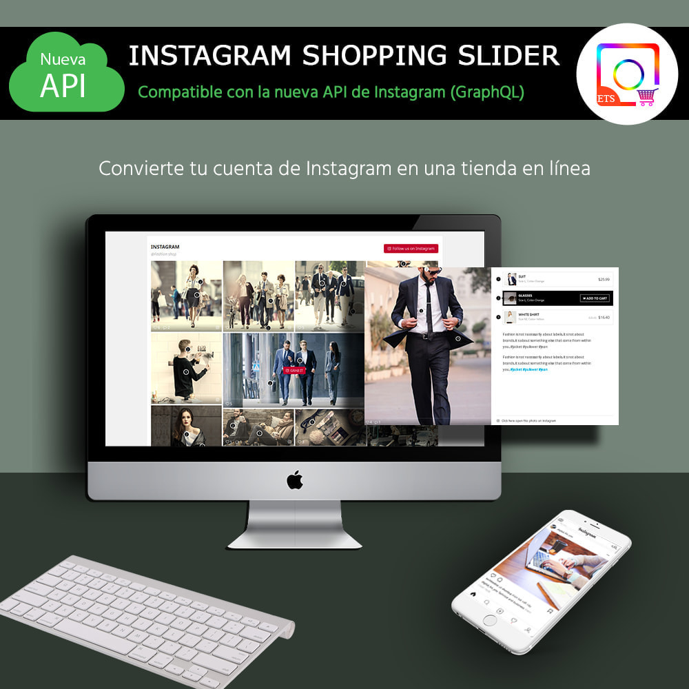 module - Sliders y Galerías de imágenes - INS Shopping Slider - Integración de redes sociale - 1