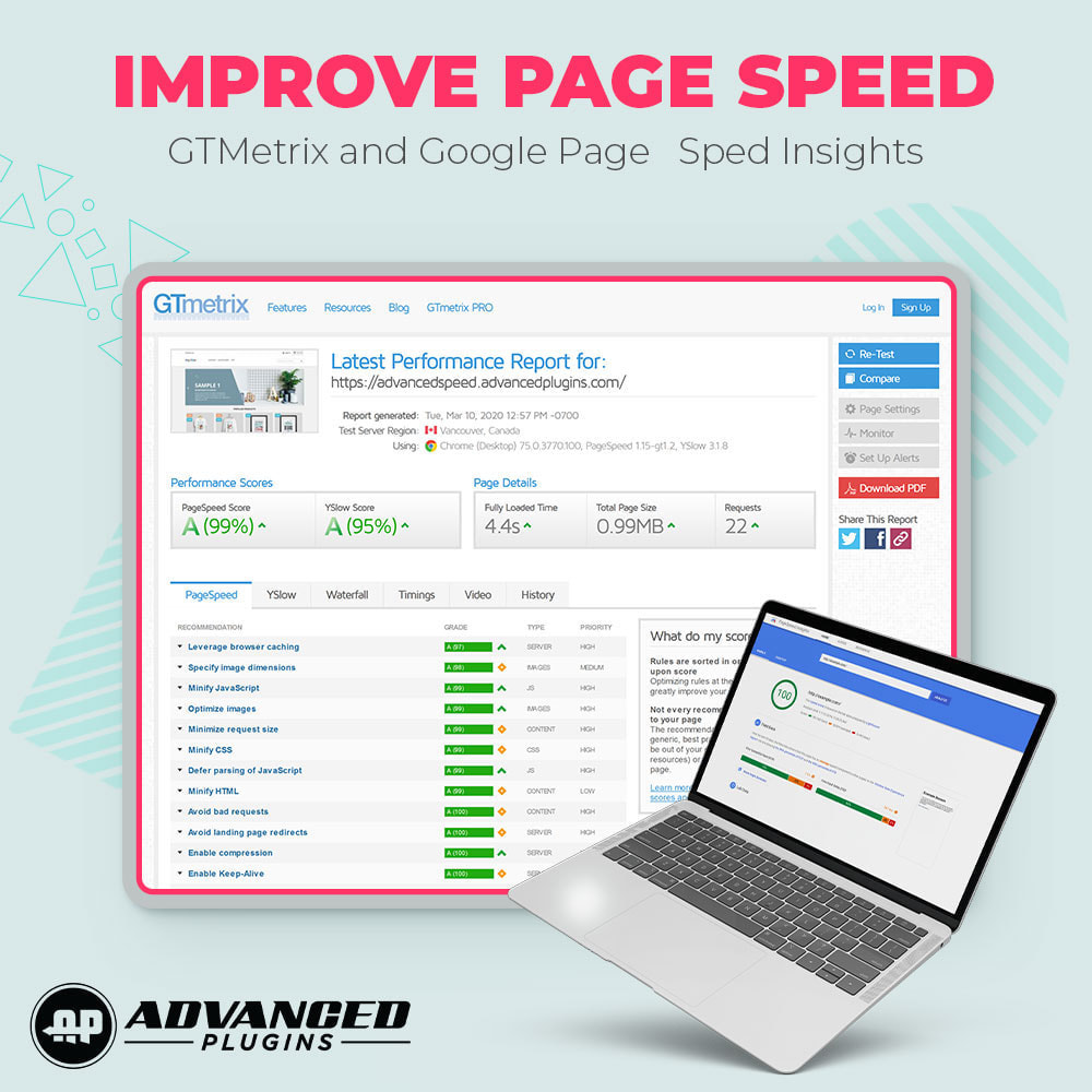 module - Desempenho do Site - Page Cache & Image Speed - Google Insights & GTmetrix - 2