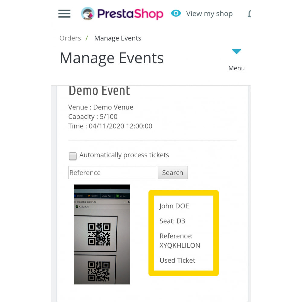 module - Web de Reservas y Alquiler - Events Manager with QR Reader - Sell Tickets - 2