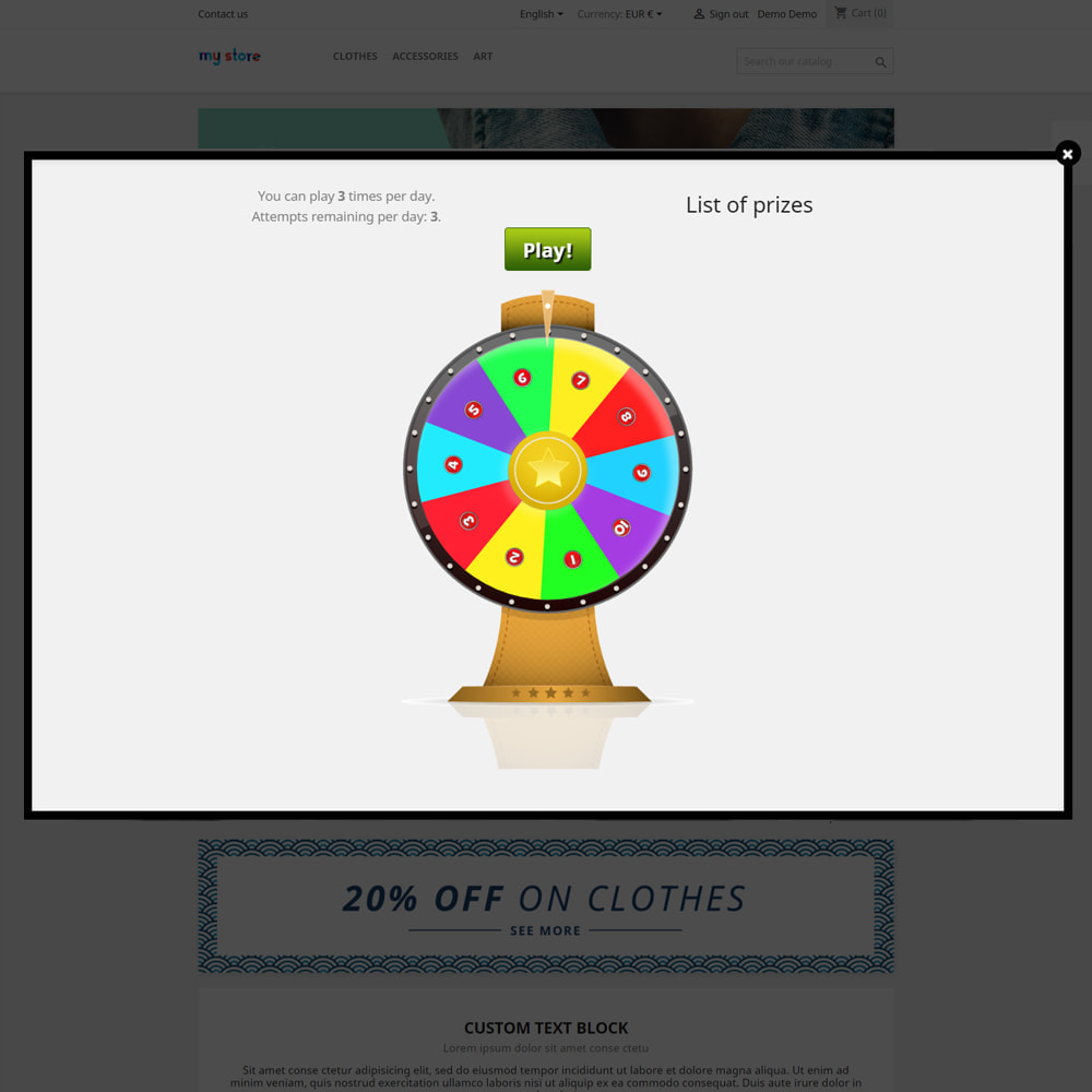 module - Contests - Wheel of Fortune, discounts and gifts to customers - 4