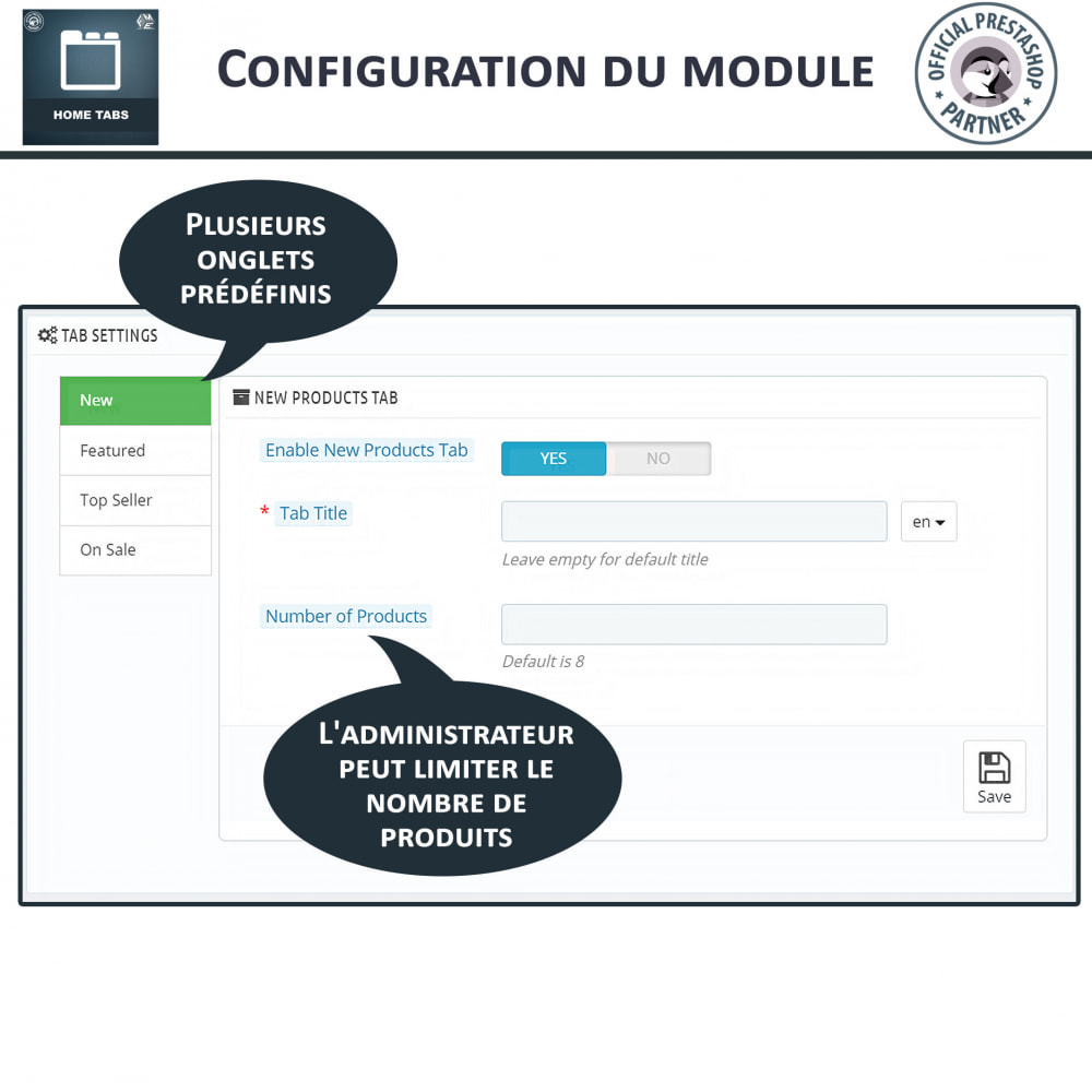 module - Blocs, Onglets & Bannières - Onglets d'accueil - 4