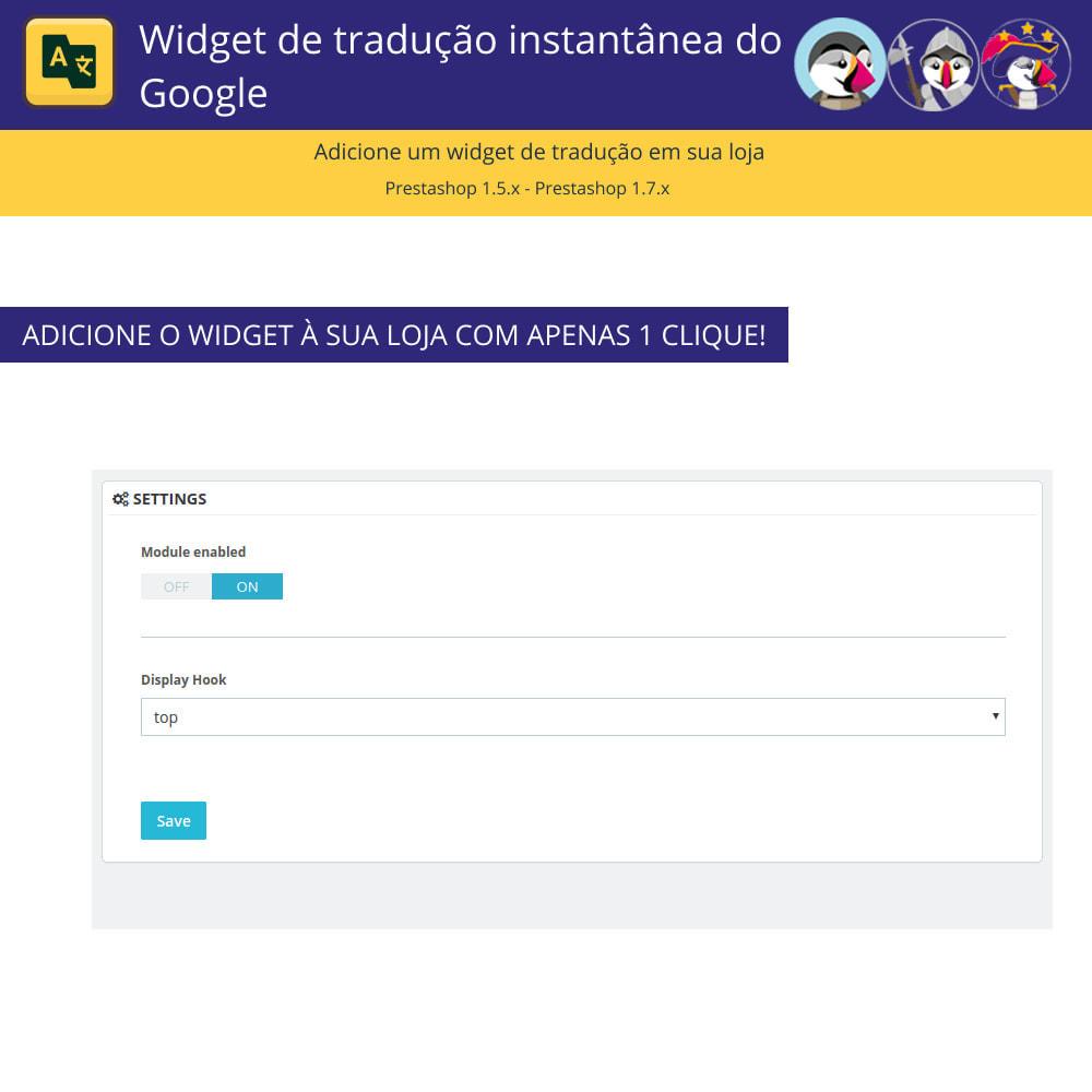 module - Internacional & Localização - Widget de tradução instantânea do Google - 2