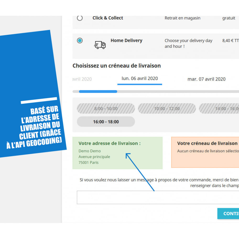 module - Date de livraison - Créneaux de livraison par zones, codes postaux et coût - 5