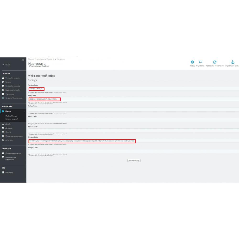module - Оптимизация сайтов (SEO) - Подтверждение сайта для веб-мастеров - 1