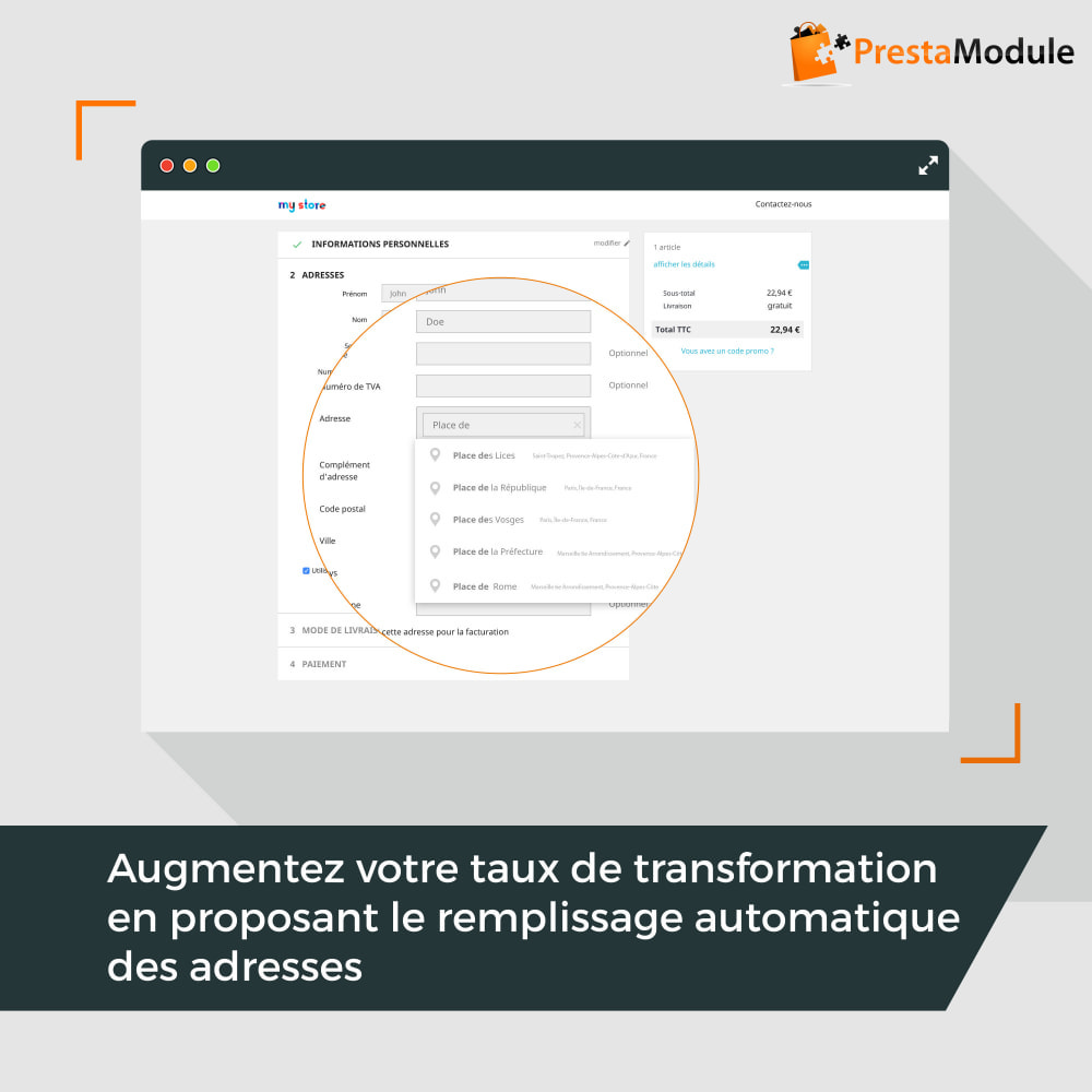 module - Inscription & Processus de commande - Easy Places - 1