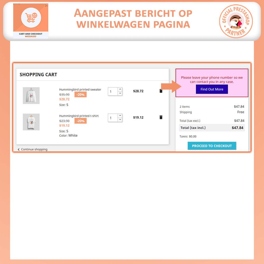 module - Registratie en Proces van bestellingen - Winkelwagen en Afrekenen Berichten - 2