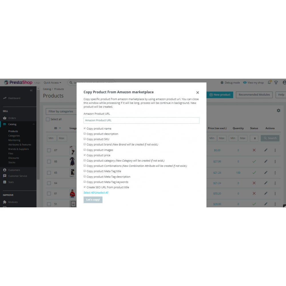 module - Импорт и Экспорт данных - Copy Products From Amazon marketplace | Import Products - 3