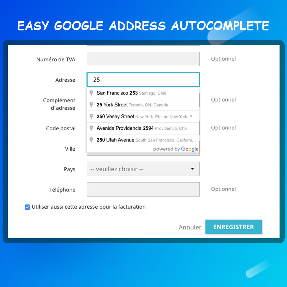 module - Registration & Ordering Process - Google address auto complete - 2