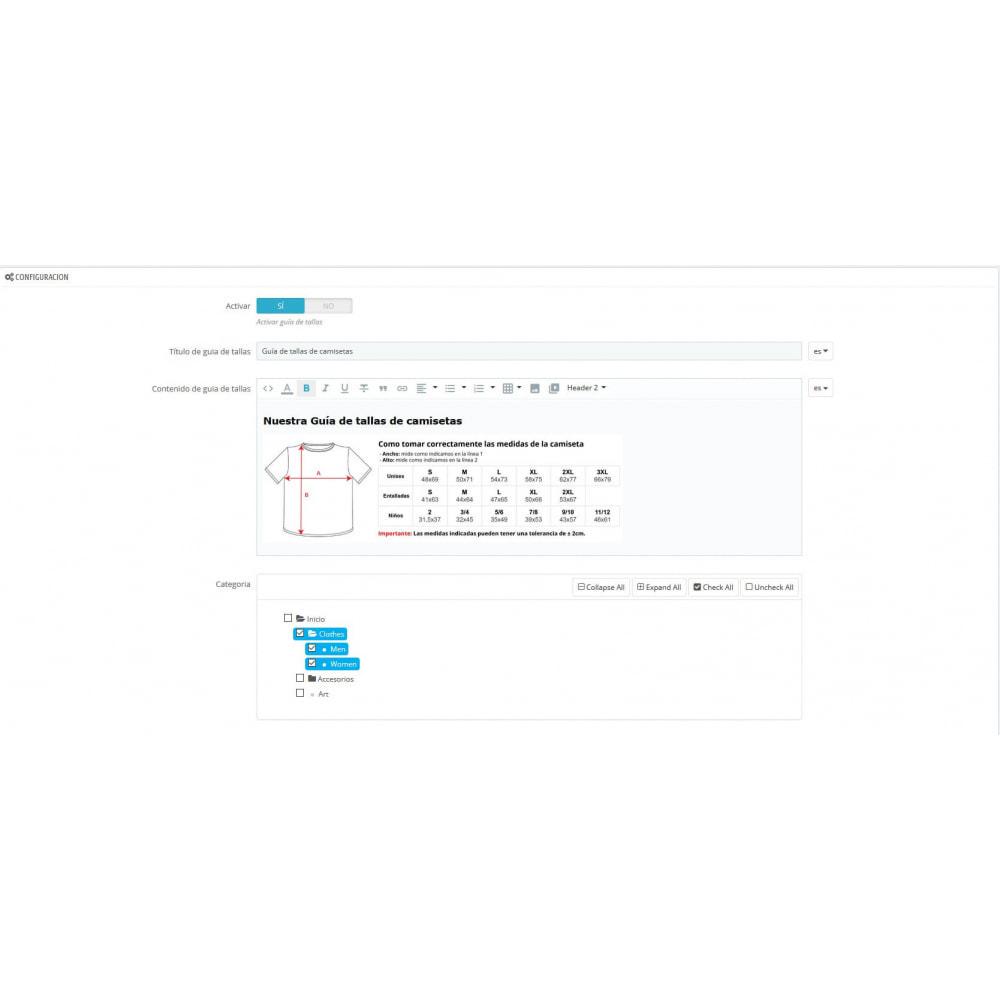 module - Tallas y Dimensiones - Mostrar guía de tallas por categoría - 1