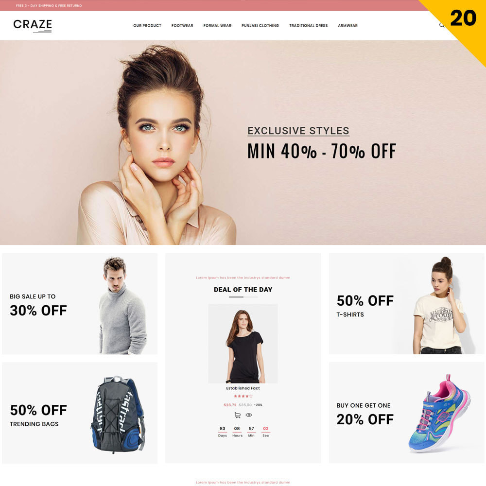 theme - Fashion & Shoes - Craze - The Multipurpose Online Store - 22