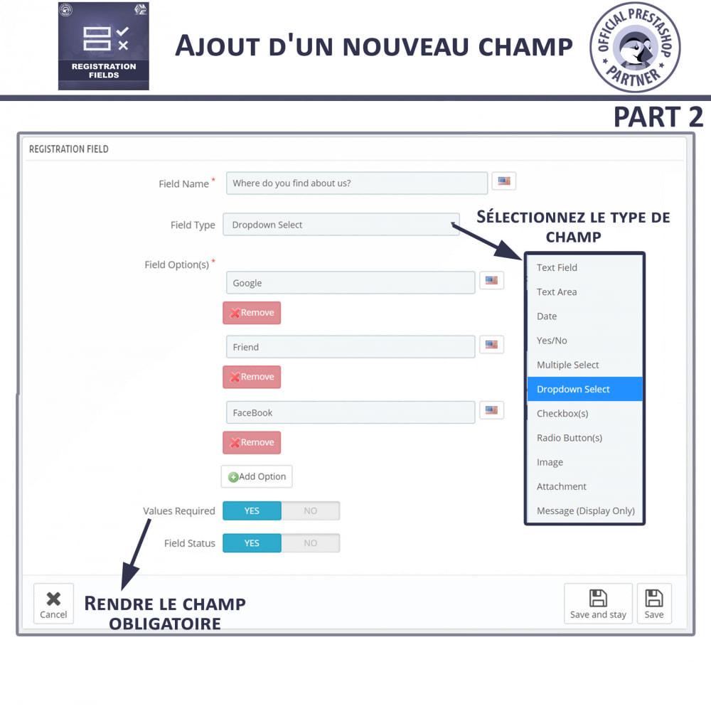 module - Inscription & Processus de commande - Champs d'inscription - Ajouter des champs personnalisés - 12