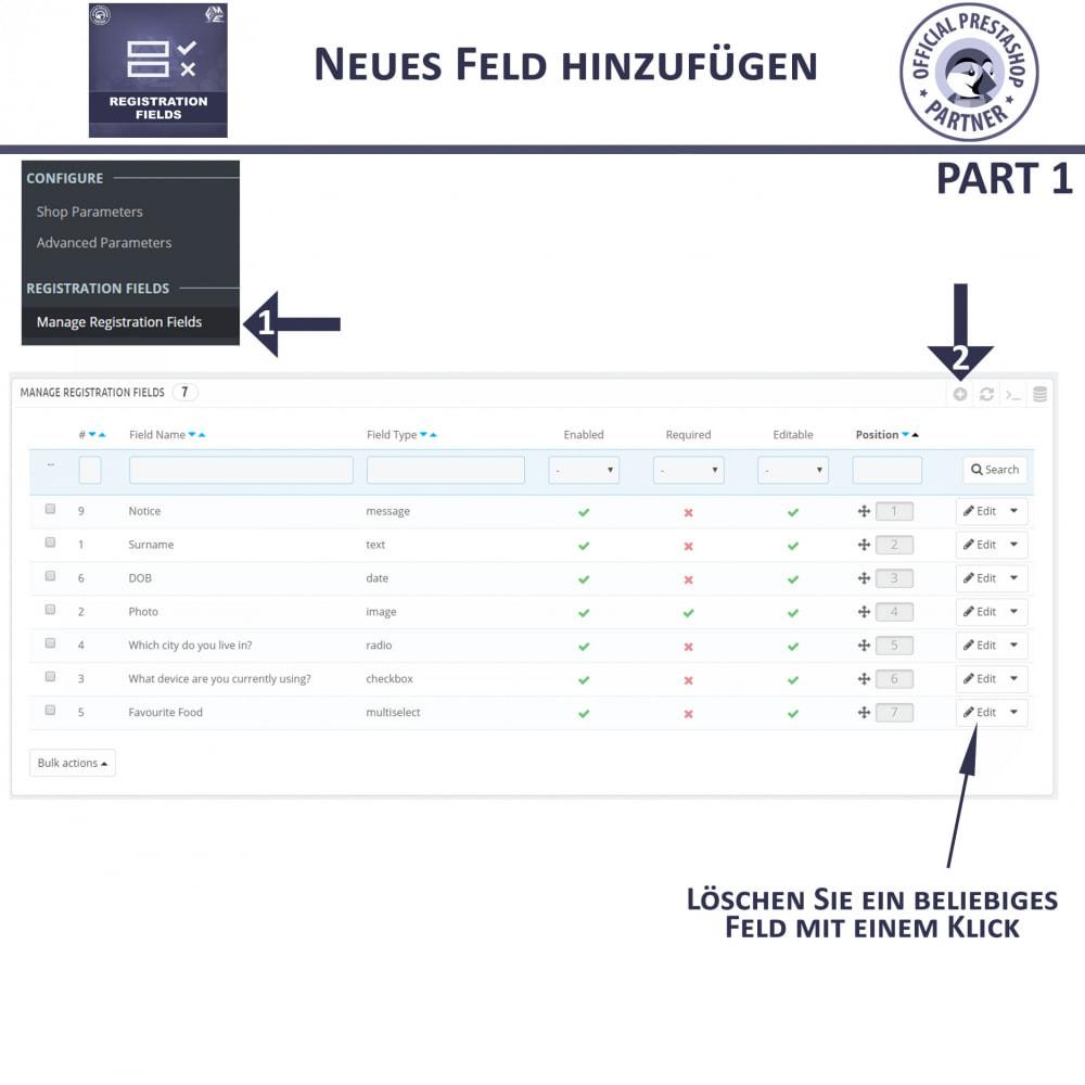 module - Anmeldung und Bestellvorgang - Registrierung Felder, Fügen Sie Kundenattribute - 10
