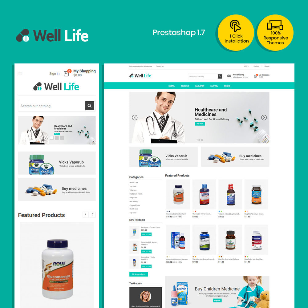 theme - Saúde & Beleza - Well Life - Medicine Medical  Drug  Pharmacy Store - 1