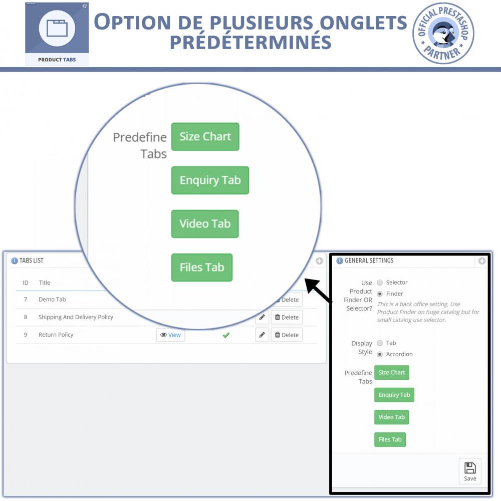 module - Information supplémentaire & Onglet produit - Onglets de Produits - 5
