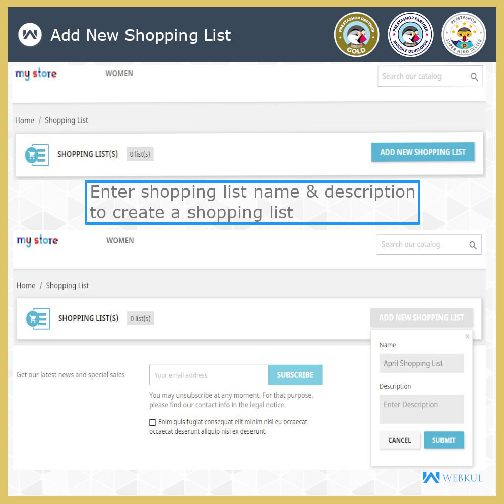 module - Registration & Ordering Process - Shopping List | Multi Wish list - 5