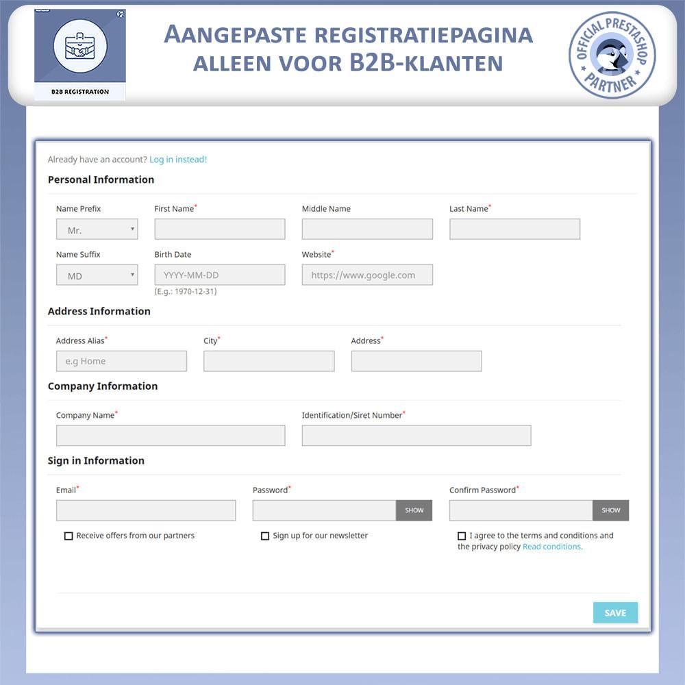 module - Registratie en Proces van bestellingen - B2B Registratie - 3