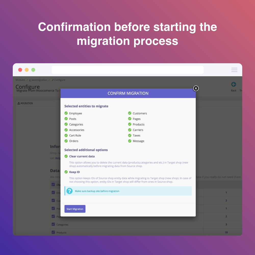 module - Data migration & Backup - Migrate WooCommerce to Prestashop - 5
