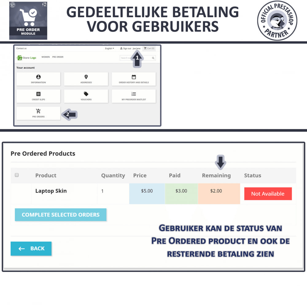 module - Registratie en Proces van bestellingen - Vooruit Bestellen en Wachtlijst Notificatie - 8