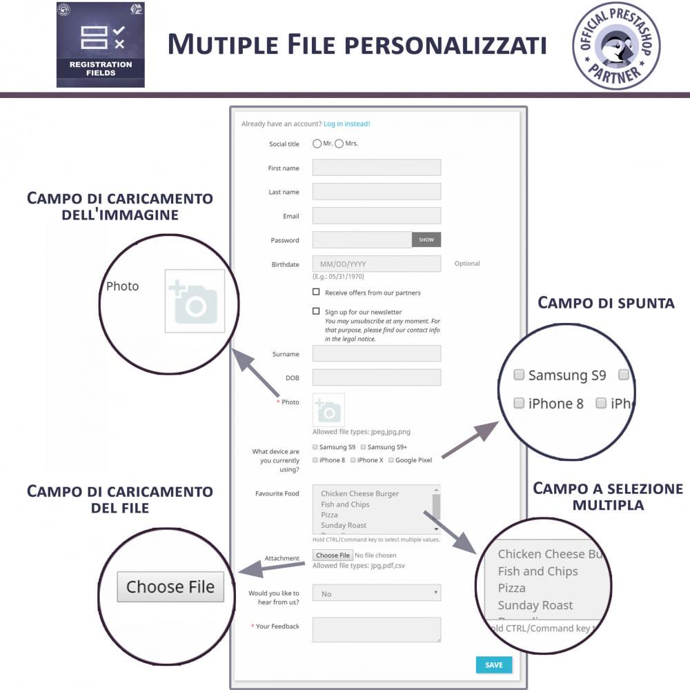 module - Iscrizione e Processo di ordinazione - Campi di Registrazione Personalizzati - Convalida - 2