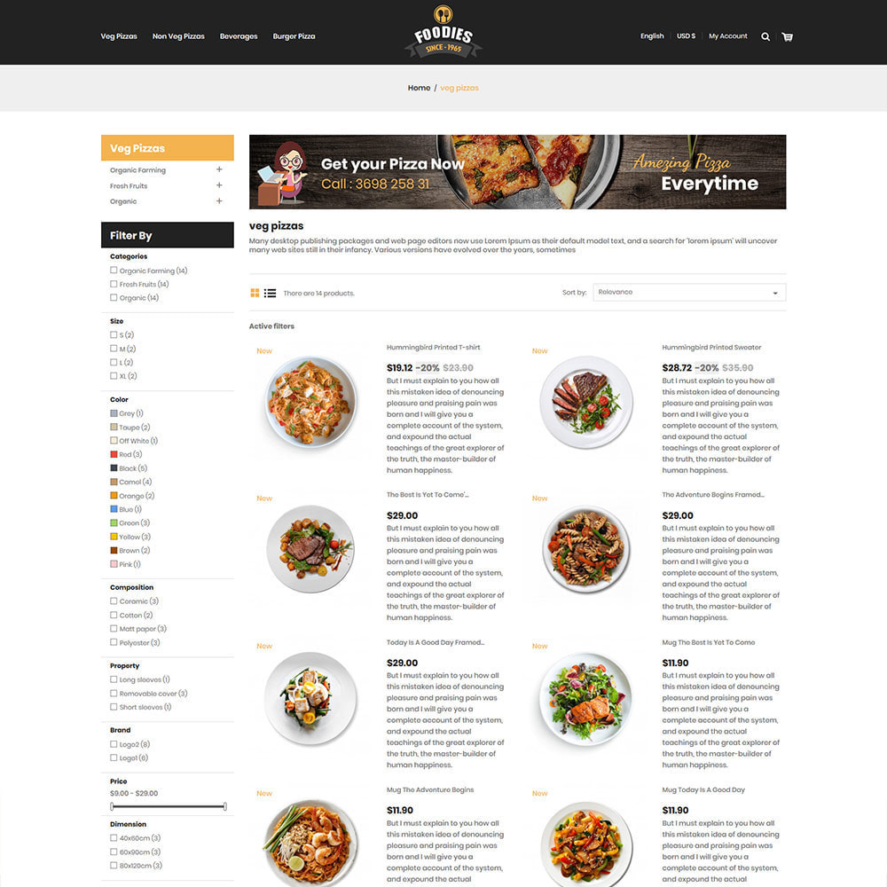 theme - Alimentation & Restauration - Food Burger - Magasin d'alimentation pizza - 6