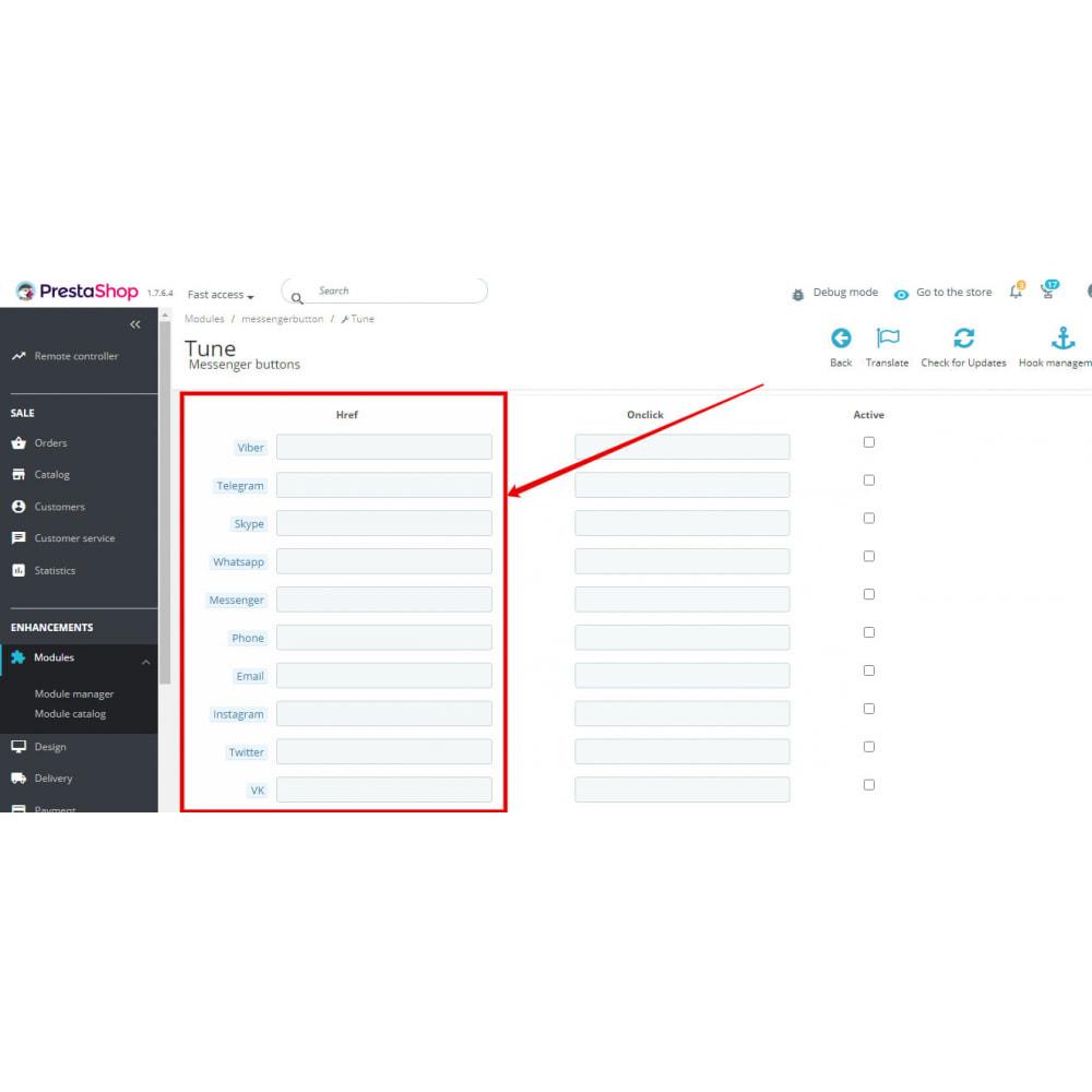 module - Ondersteuning & Online chat - Messengers buttons: FB Instagram Skype WhatsApp Viber. - 2