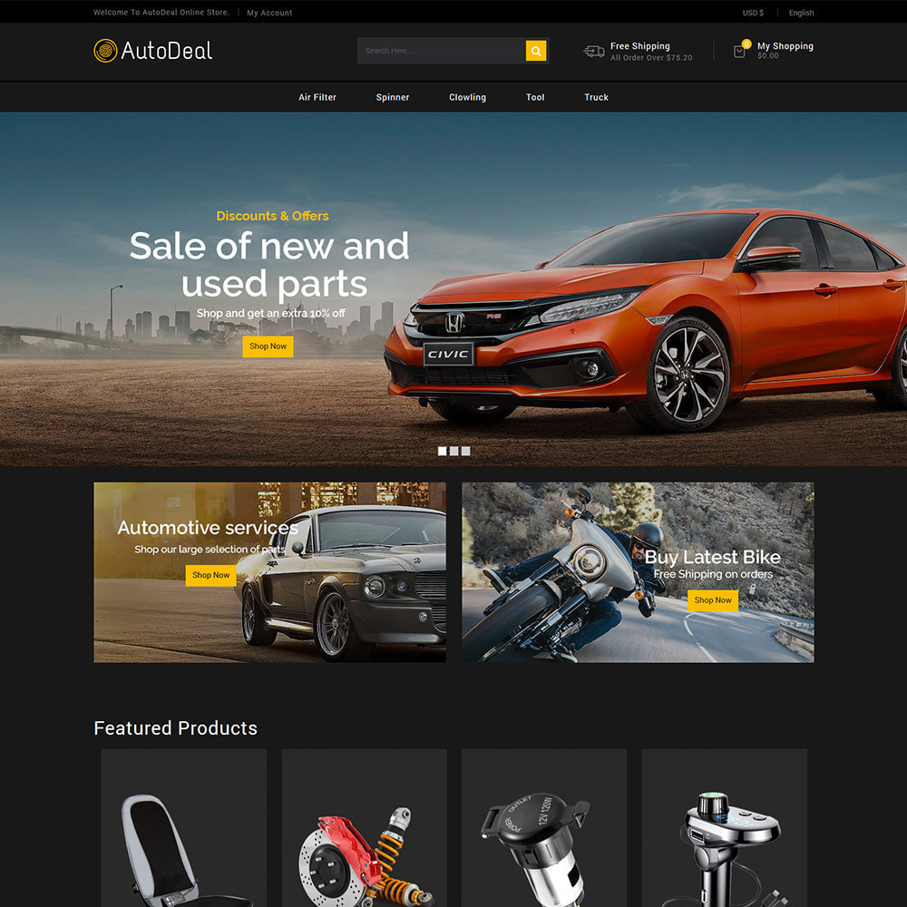 theme - Carros & Motos - Autodeal Car Parts  - Auto Store - 2