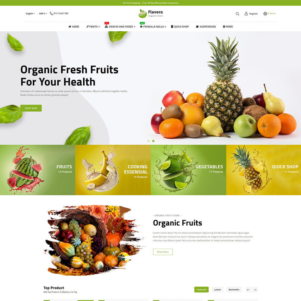 theme - Food & Restaurant - Flavoro - Fresh Organic Food Delivery Store - 2