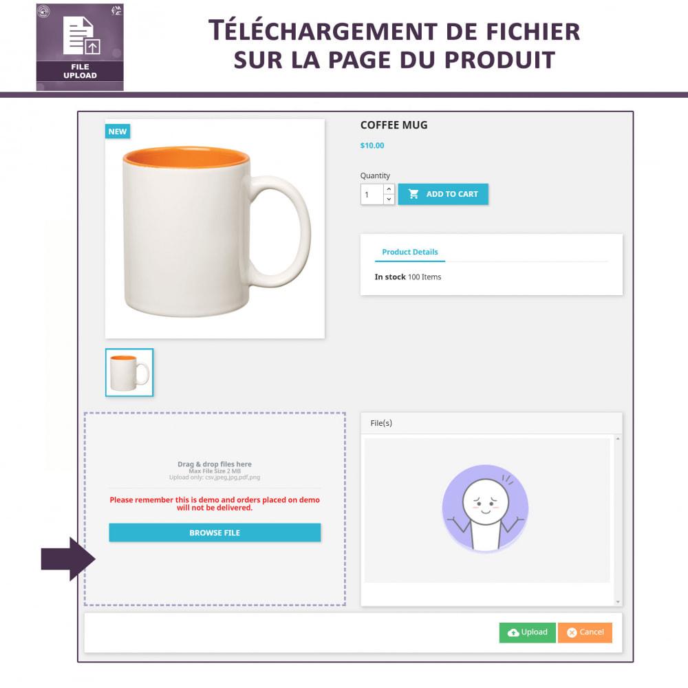 module - Information supplémentaire & Onglet produit - Téléchargement de fichiers par le client - 2
