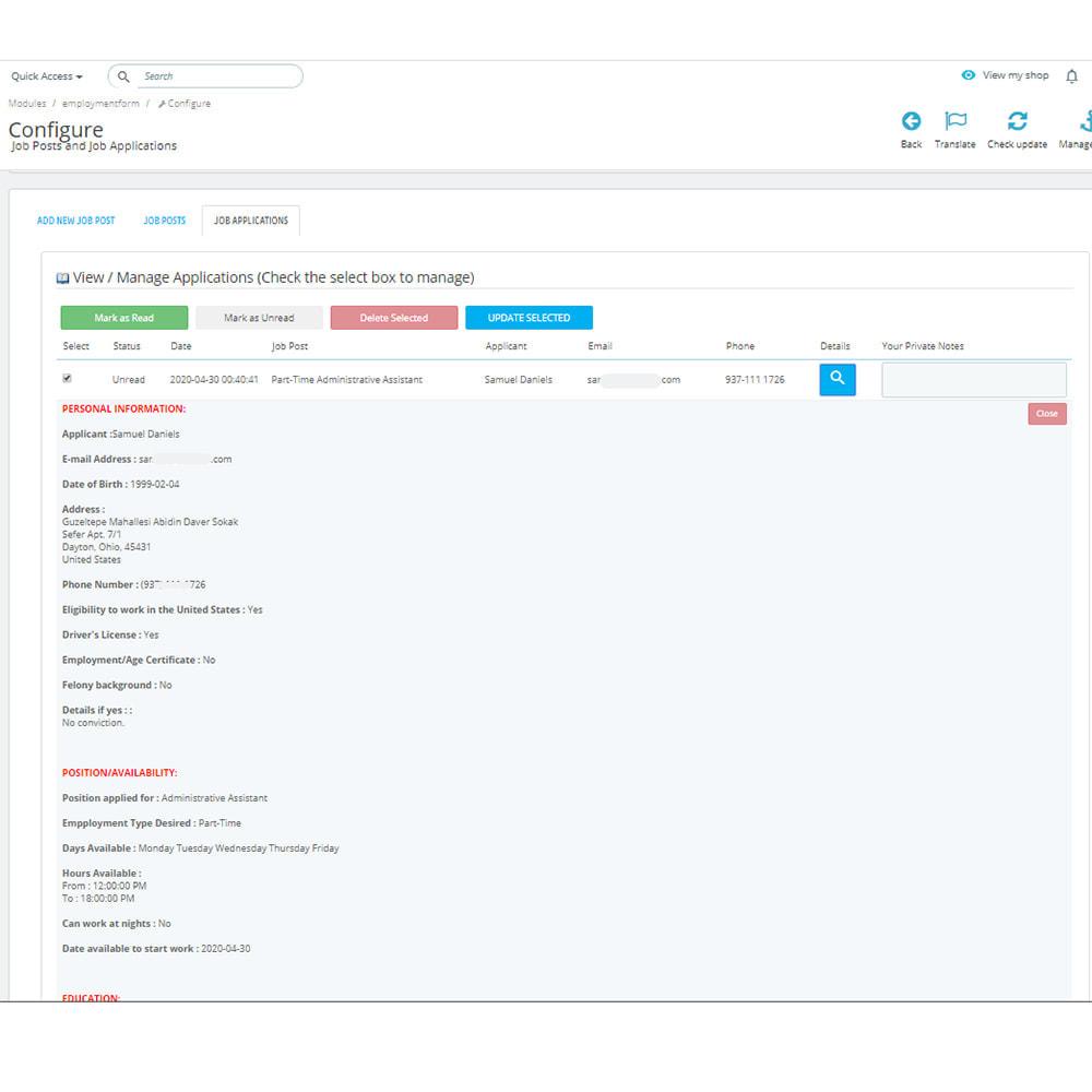 module - Formulaires de Contact & Sondages - Postes et demandes d'emploi - 12