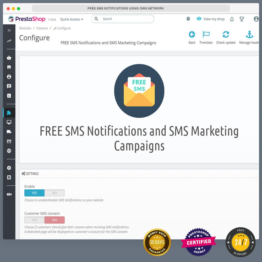 module - Newsletter & SMS - Notifications SMS gratuites en utilisant propre réseau - 3