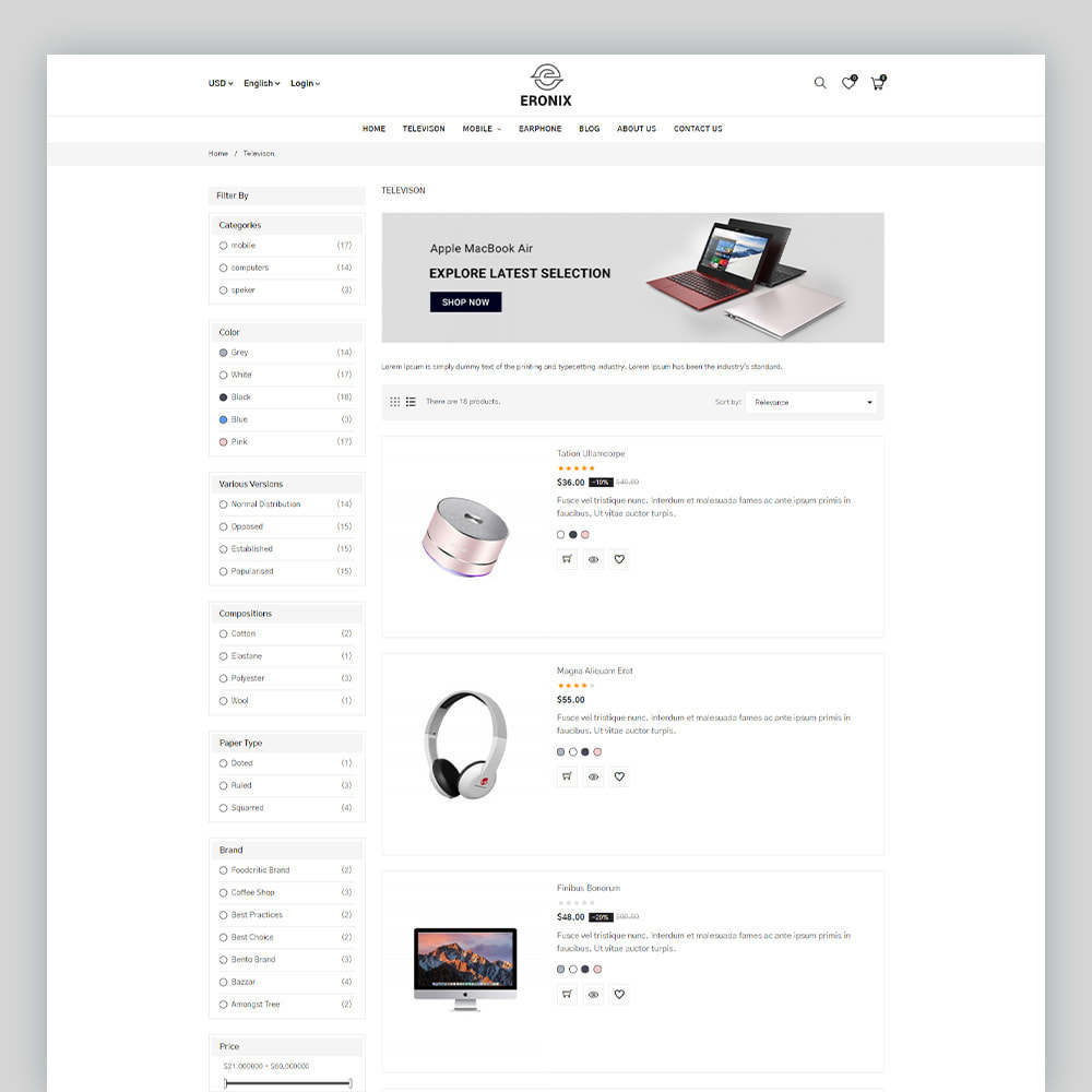 theme - Electrónica e High Tech - Eronix Mega Electronic Super Store Template - 6