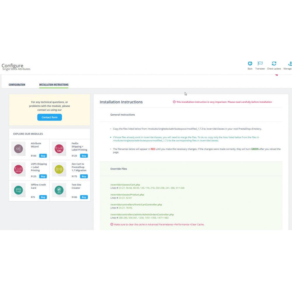 module - Combinaciones y Personalización de productos - Single Stock Attribute - Stock Control - 3