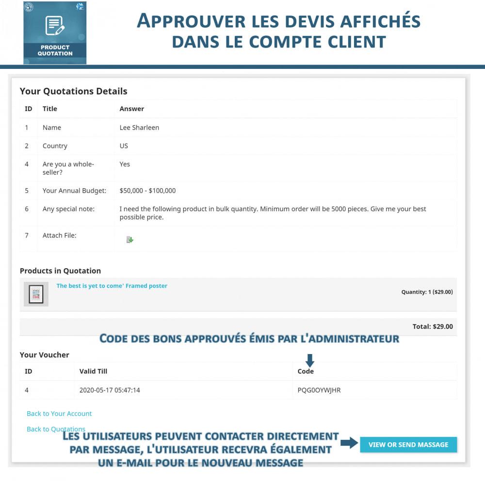 module - Devis - Devis Produit, Autoriser le client à demander un devis - 7