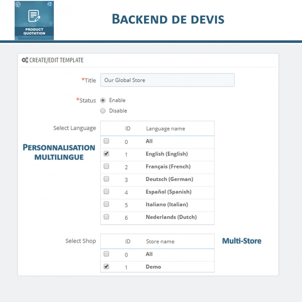 module - Devis - Devis Produit, Autoriser le client à demander un devis - 12