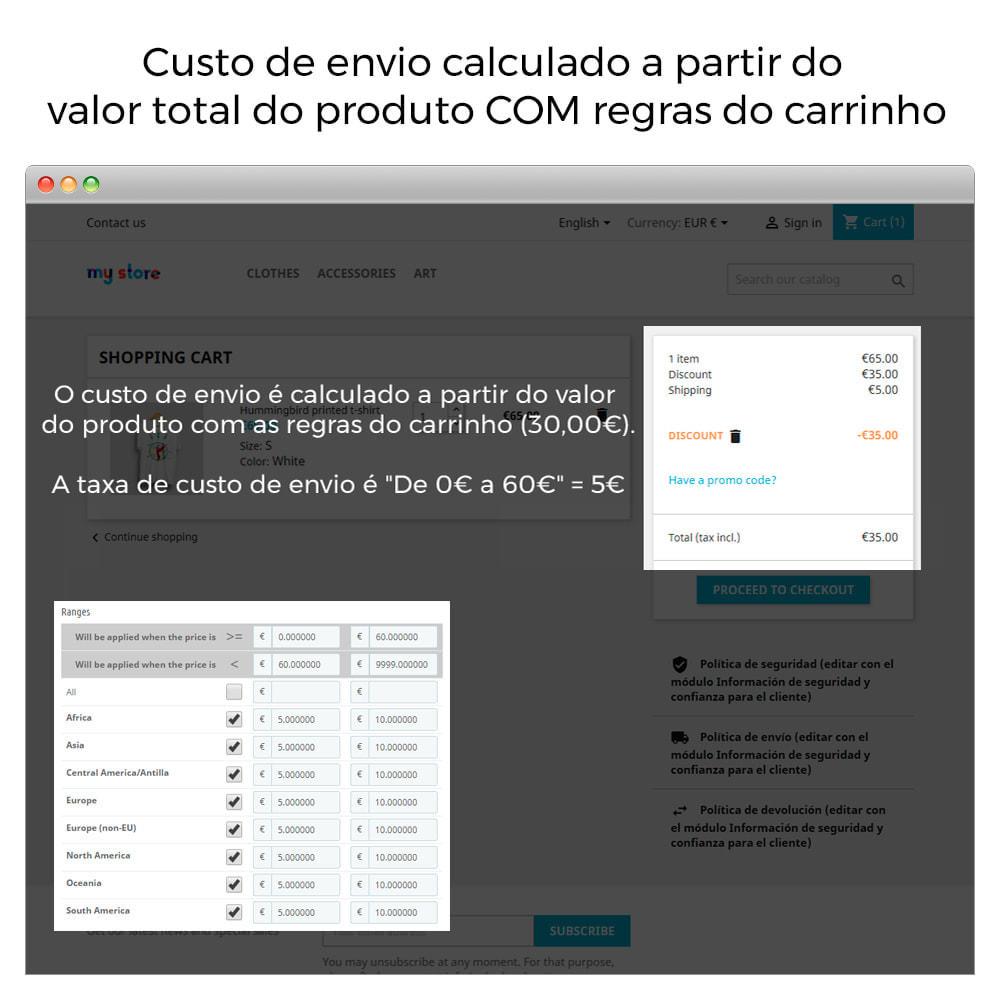module - Custo de frete - Custos de envio sem regras de carrinho/descontos - 3
