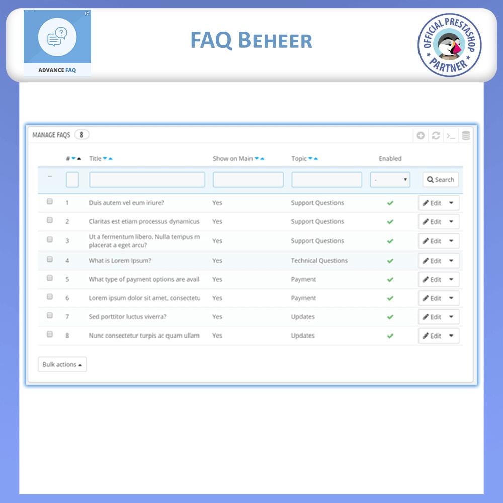 module - FAQ (Veelgestelde vragen) - Geavanceerde FAQ - Veelgestelde Vragen - 10