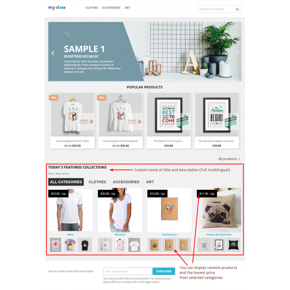 module - Products on Homepage - PRO responsive categories in tab or block on home page - 1