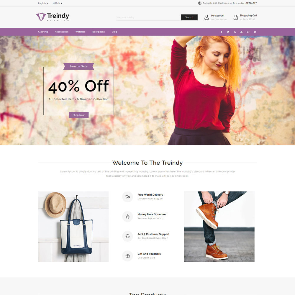 theme - Fashion & Shoes - Treindy - Fashion Store - 2