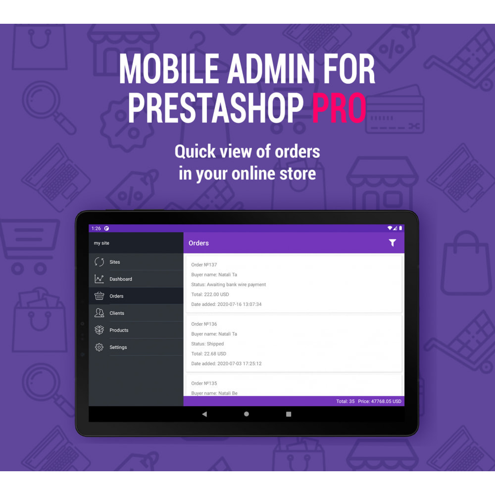 module - Mobile - Mobile Admin for unlimited managers, sites iOs&Android - 2