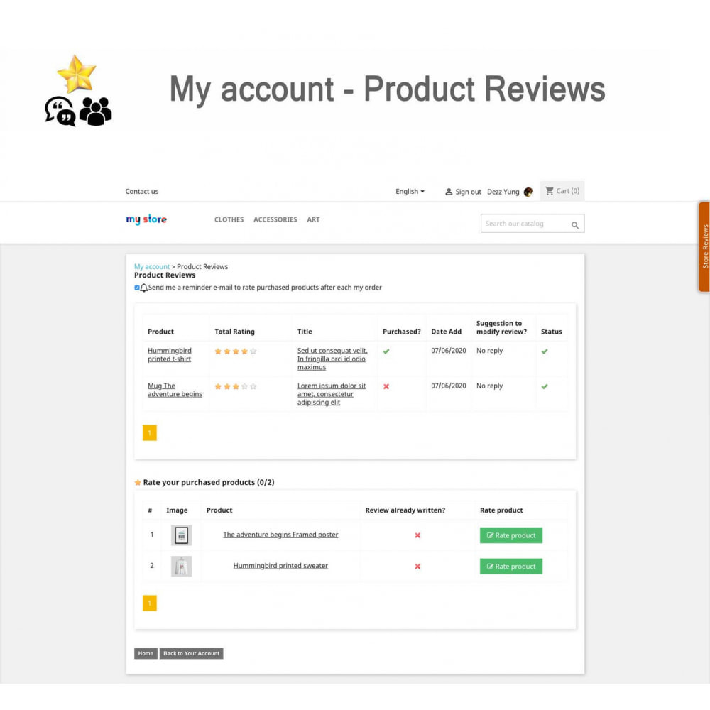 module - Recensioni clienti - Product Reviews+Shop Reviews, Loyalty Program, Reminder - 20
