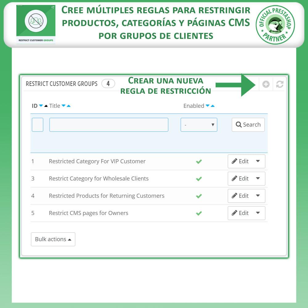 module - Informaciones adicionales y Pestañas - Restringe por grupos de clientes -  Catálogo y CMS - 2