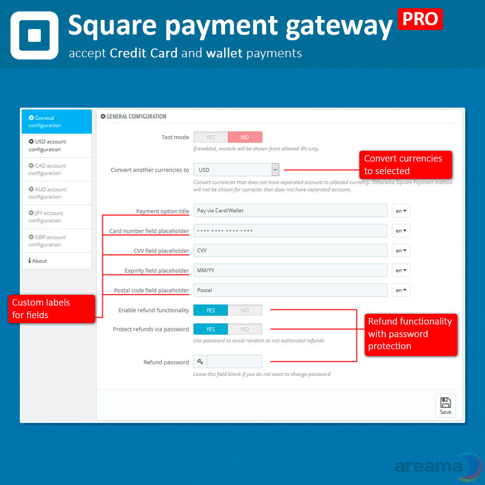 module - Zahlung per Kreditkarte oder Wallet - Square Payment Gateway PRO - Card and Wallet payments - 3