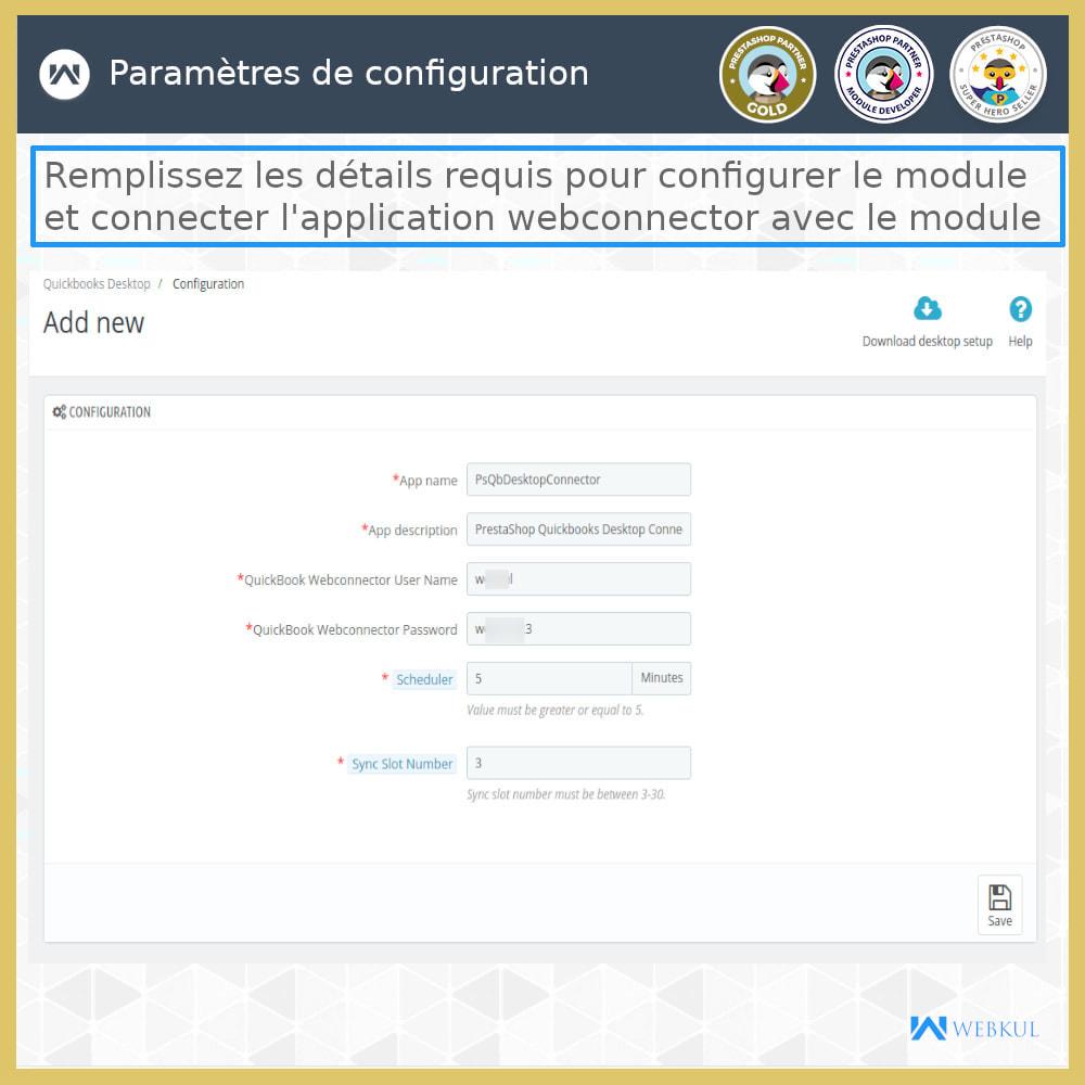 module - Connexion à un logiciel tiers (CRM, ERP...) - Connecteur de bureau QuickBooks - 19